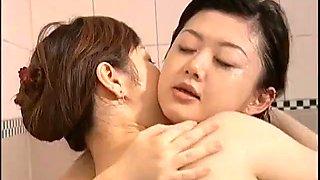 Japanese lesbian in bath