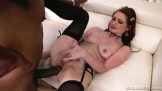 Caucasian almost all sweaty nympho Violet Monroe takes strong BBC in her anus