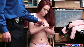 Redhead babe Cassidy punished for stealing