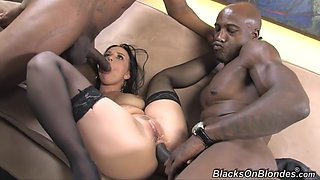 hot brunette takes 2 bbc