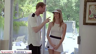 Naughty america tennis instructor gets lucky with student