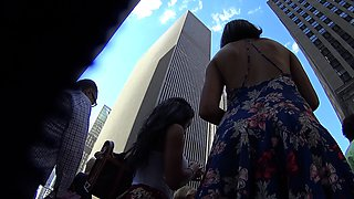 Sultry amateur girl with a sublime ass upskirt on the street
