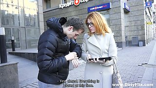 Red haired nerdy girl in glasses Renata gets laid on the first date