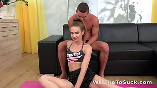Svelte flexible chick Milissa Benz gives terrific deepthroat BJ after doggy