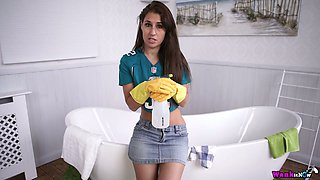 Young housewife Jess West is masturbating her yummy pussy in gloves