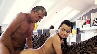 Old man massage by young girl What would you choose - comput