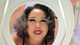 Asian domina teases and spits on toilet slave