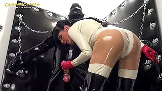 Dominant Carmen Rivera in latex adores BDSM sex games with a dude
