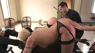 Cherry Torn and Satine Phoenix get tormented and dominated indoors