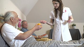 Sexy nurse helps older men with their sexual needs at the hospital