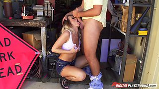 Scantily clad blonde tease in his garage for aggressive sex