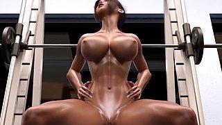 Big tits futanari babes having sex in a gym