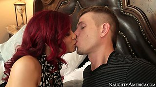 Attractive redhead bitch with awesome body gets banged
