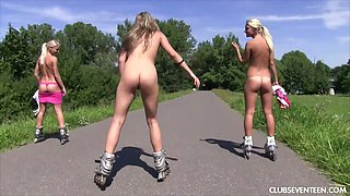 Nude roller girls are having crazy outdoor sex fun right on the lawn