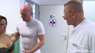 Two kinky gynecologists fuck sex-appeal patient Natalie Hot
