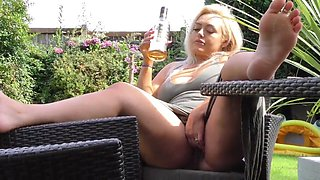 Hot blonde getting drunk and chilling