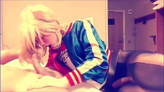 Suicide Squad Harley Quinn crossdresser suck and swallow
