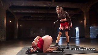 wrestling champion whips lesbian babe