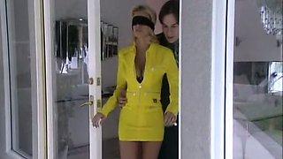 Long legged plastic blonde hottie blindfolded and teased