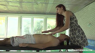 Skiley Jam gives an older guy a nice massage and rides his dick