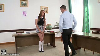 Enticing college girl Angel Blade banged hard in teachers' lounge room