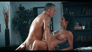 Bent over the office table sexy secretary Silvia Saige is fucked