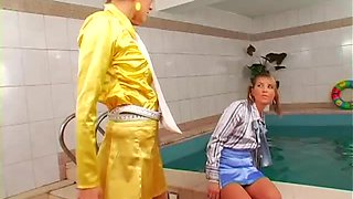 Girl on girl pool party