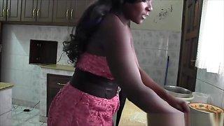 Interracial Kitchen Fuck With Busty Ebony Hottie Chari