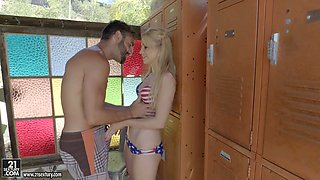 Naughty blonde Staci Carr gets fucked in beach changing room