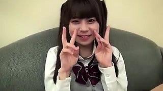 Japanese teen in school uniform shoved in her hairy quim