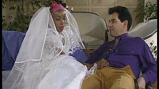 Ebony bride rides hubbies big cock on marriage night