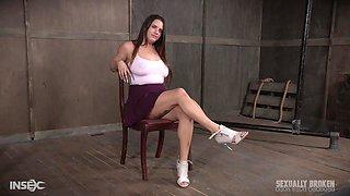 Pretty teen in a miniskirt Scarlet De Sade abused hardcore