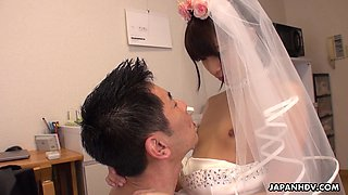 Sexy Japanese maid taking it doggy style and loving it