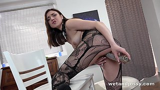 Horny redhead Kira Axe is really into peeing and she loves flying solo