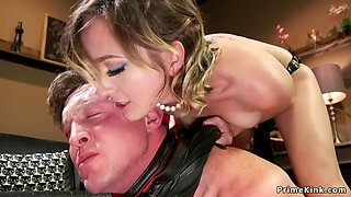 Dominatrix gf rides gag dildo on bf