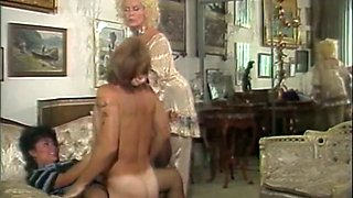 Horny brunette in black stockings gets dick in her pussy