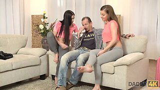 DADDY4K. Woman catches old boyfriend fucking her pretty daughters