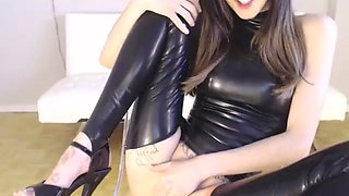 Submissive girl in latex leather dancing for daddy on stream...