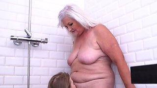 Casey Nohrman In Horny Granny Finds Her Young Lover Naked In The Shower