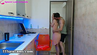 Show in the kitchen from a young amateur couple on webcam