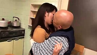 Horny Asian wife with tiny tits gets fucked by an old guy