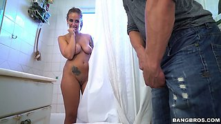Desirable bitch Layla London fucks her buddy in the bathroom