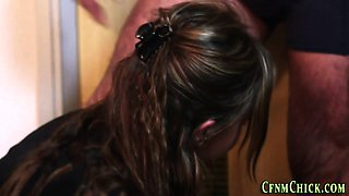 Clothed office babes tug
