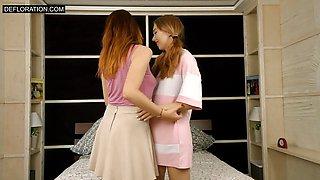 Cute Virgin defloration by lesbians Arina and Amy Ledenez