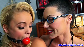 Lezdom mistress gaging her bimbo sub