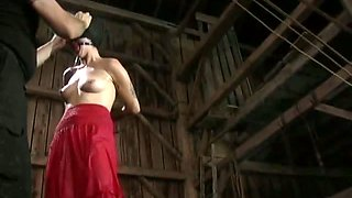 Tied p chick is undressed and punished
