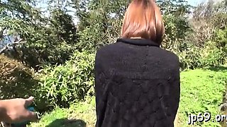 Breasty milf public flashing for random chap before sex