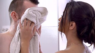 Just married couple having sex in the shower before going to work