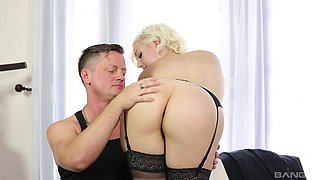 Perfect blonde Jenna Ivory riding the dick of her muscular lover