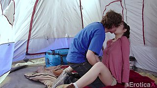 hot brunette fucks her bf on a camping trip